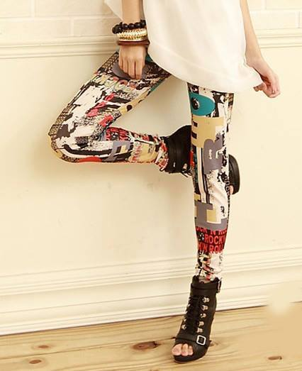 Printed leggings-Mauve-TechShohor
