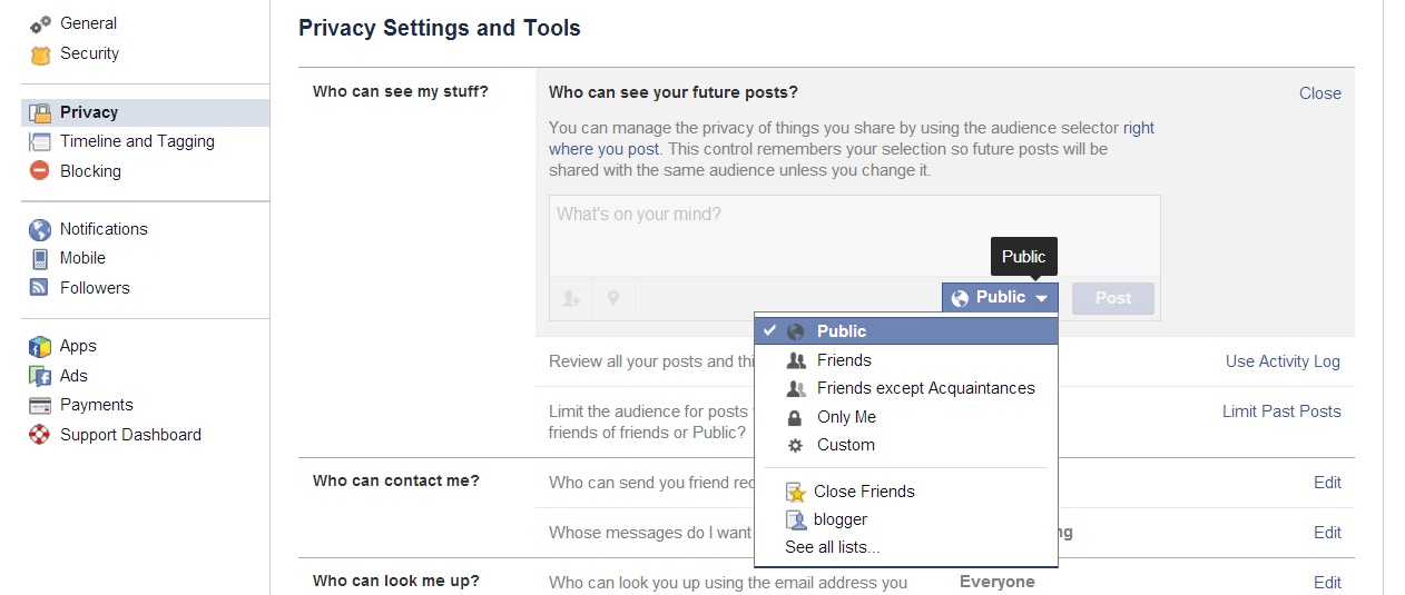 facebook setting_techshohor